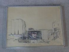 Martin Fuller, a crayon on paper with watercolour, Cold Store II, signed and dated, gallery label to