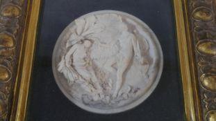 A composite marble relief plaque in gilt frame, Classical figures,signed E.W. Wyon, sculpt Jan 1845.