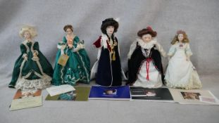 A collection of fourteen porcelain headed Franklin Heirloom Dolls, boxed and with paperwork. H.