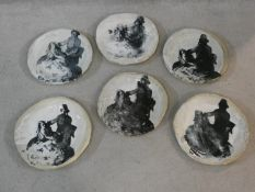 Six studio pottery plates with transfer design of Dresden porcelain figures, with white glaze
