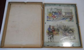 A boxed collection of layout sheets for two different vintage children's books. Some black and white
