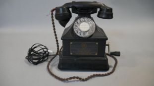 A vintage black bakelite ATM T3903 mining telephone (for surface use only) with chrome dialing