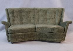 A mid century vintage two seater sofa in buttoned upholstery. H.78 W.155 D.90cm