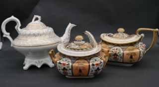 A collection of hand painted and gilded porcelain. Including a white porcelain tea pot with gilded