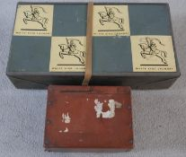 A vintage cardboard lidded White Knight Laundry box with leather strap and labels along with a