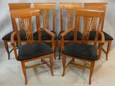 A set of six contemporary Italian cherrywood dining chairs by Pietro Constantini to include two