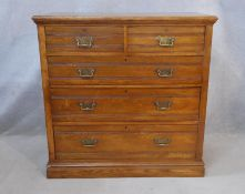 A Victorian walnut chest of drawers with original brass handles on plinth base. H.107 W.107 D.53cm