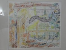 Elizabeth Cramp, a framed and glazed watercolour on paper, Spanish Window, Royal Academy label to