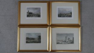 A set of four gilt framed and glazed hand coloured antique engravings of French points of