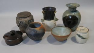 A collection of seven Studio pottery pieces. Some with makers marks and signatures. H.22cm (Tallest)