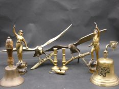 A pair of antique French spelter figures and a miscellaneous collection of brass items viz; a pair