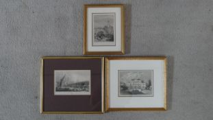 Three 19th century framed and glazed engravings; Landsdowne House, Venice and Old London Bridge from