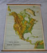 A Large University Chart ?Visual relief Map of North America? by W.A.K Johnston and G.W. Bacon,