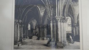 A 19th century framed and glazed etching, interior Bruges Cathedral, indistinctly signed and
