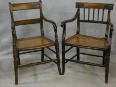 A Regency beech framed and painted caned seated armchair and a similar armchair (damaged as