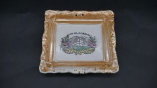 An antique Sunderland lustre plaque with galleon and bearing the name Robert Cockerton within a