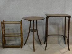 Two bentwood occasional tables and an oak bobbin turned stick stand. H.73 L.49 W.36cm