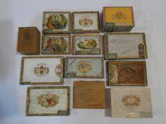 A miscellaneous collection of thirteen vintage Cuban cigar boxes, various brands. H.8 L.15 W.21cm