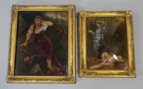 A pair of late 19th century pre Raphaelite style gilt framed hand coloured reverse prints on