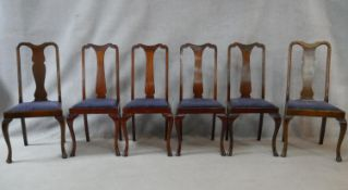 A set of six early 20th century Georgian style dining chairs with drop in seats on cabriole