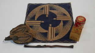 A mid century geometric design velour cushion cover along with a Chinese wooden tea caddy box with