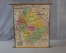 A vintage coloured teaching map of Belgium's transport routes printed on linen, publised by