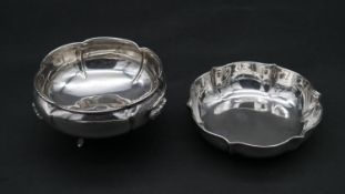 An Italian silver stylised rose shaped dish, stamped 800, Arona assay mark and maker's stamp,