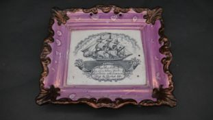 An antique pink Sunderland lustre ceramic plaque with galleon and 'May Peace & Plenty on our