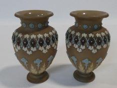 A pair of 19th century Doulton Lambeth silicon stoneware ceramic vases. H.16cm