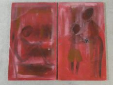 A pair of unframed oils on canvas, figural studies, unsigned. H.100 W.60cm
