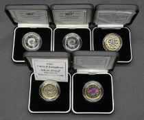 Five Royal Mint two pound Piedfort silver proof two pound coins. Including two piedfort silver proof