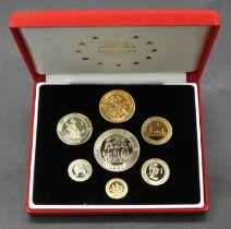 A Royal Mint United Kingdom, 1992 piedfort ecu seven coin proof set, 10 ecu to 1/10th ecu, in a