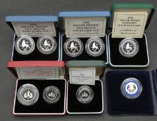 Six sets of Royal Mint silver proof coins. Including two cased sets of piedfort silver proof cased