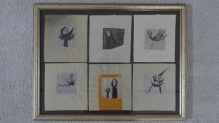 A framed and glazed ink on tissue paper with six surrealist figures. Unsigned. H.38.5 W.50.5cm