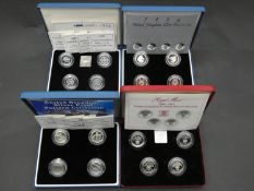 Royal Mint 2003 and 2004 United Kingdom silver proof landmarks pattern set with COAs and in