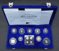A Royal Mint The United Kingdom Millennium Silver Collection, with nine coins and Maundy set in