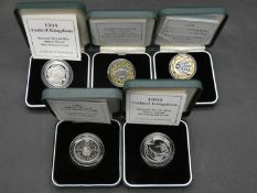 Five Royal Mint silver two pound proof coins. Including Rugby Word Cup, two 1995 Second World War