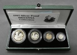 A Royal Mint 1997 silver proof four coin Britannia Collection, green leather presentation case
