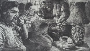 A signed limited edition etching, The Waiting, indistinctly signed and dated. H.57.5 W.76cm