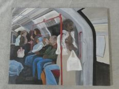 An unframed acrylic on canvas, travellers on the London Underground, unsigned. H.75 W.95cm