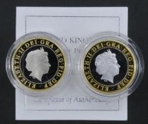 Two Rugby World Cup proof coins. A Royal Mint 1999 Silver Proof Piedfort Rugby World Cup (Hologram