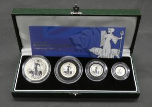 A United Kingdom Royal Mint 2001 silver proof Britannia collection, in green leather case with
