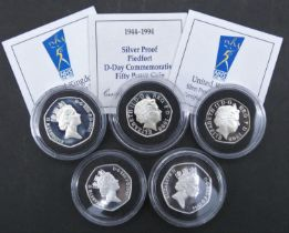 Five Royal Mint silver proof fifty pence coins. Including a 1998 National Health Service NHS