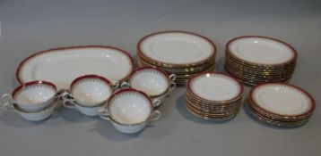 A part dinner service, Aynsley Durham with scalloped edge, ten dinner plates, a large platter,