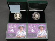 Two Queen Elizabeth The Queen Mother 2000 Centenary silver Piedfort cased centenary crowns in