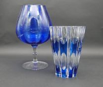 A mid century Val St Lambert blue cut to clear glass crystal vase along with a blown Bristol blue