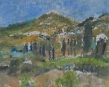 A mono print by Joy Paul, Hills of Patmos, signed, framed and glazed. H.54 W.64cm