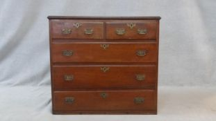 A Georgian country oak chest of two short above three long drawers. H.94 W.103.5 D.55cm