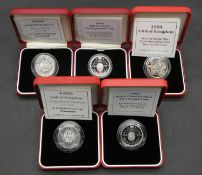 Five Royal Mint two pound silver proof coins. Including a cased Royal Mint 1994 silver proof