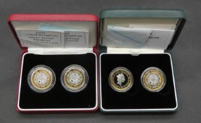 Two sets of Royal Mint silver proof two pound coins. Including a cased 1997-1998 silver proof two